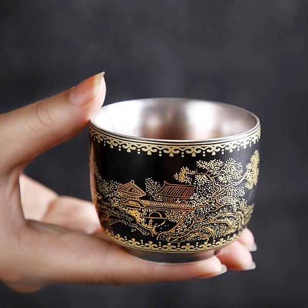 99鎏銀足銀單杯主人杯品茗杯琺瑯彩個人杯功夫茶具喝茶杯陶瓷手工
