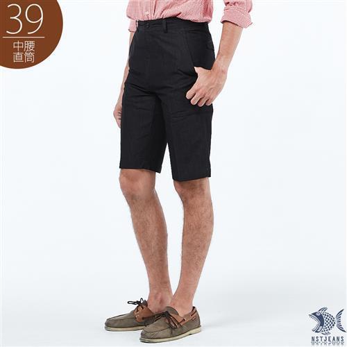 NST Jeans 黑色巴比倫 彈性x冰涼纖維 斜口袋男短褲 中腰 390 9492