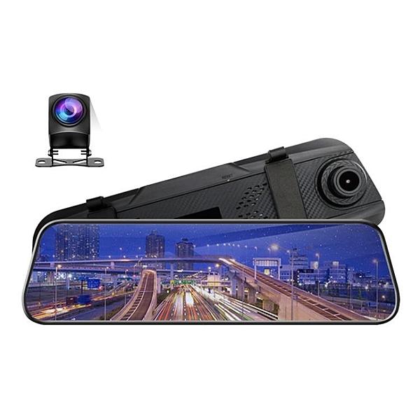 行車記錄儀高清後視鏡流媒體10寸雙鏡頭語音控制夜視dvr【新年特惠】