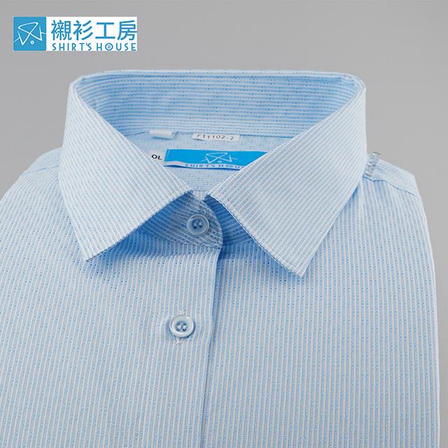 藍色細條紋、軟領軟克夫、鈕釦、釦眼對調不走光、職場專業形象合身長袖女襯衫11102-02 -襯衫工房