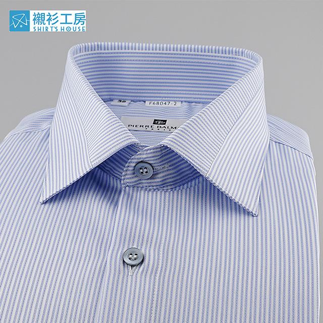 皮爾帕門pb白底藍色細線條、領面切割拼接、降溫、抗菌、速乾、抗紫外線四合一特殊材質合身短袖襯衫68047-02-襯衫工房