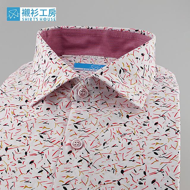 白底紅色林中有鳥齊鳴印花、時下正流行、領座配布、合身長袖襯衫87122-03 -襯衫工房