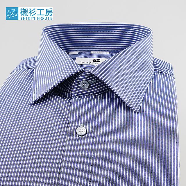 皮爾帕門pb藍色細條紋、穩重專業形象穿著合身長袖襯衫54393-05 -襯衫工房