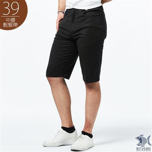 NST Jeans 咖啡迷宮印花 男特大尺碼短褲 中腰鬆緊帶 390 9499