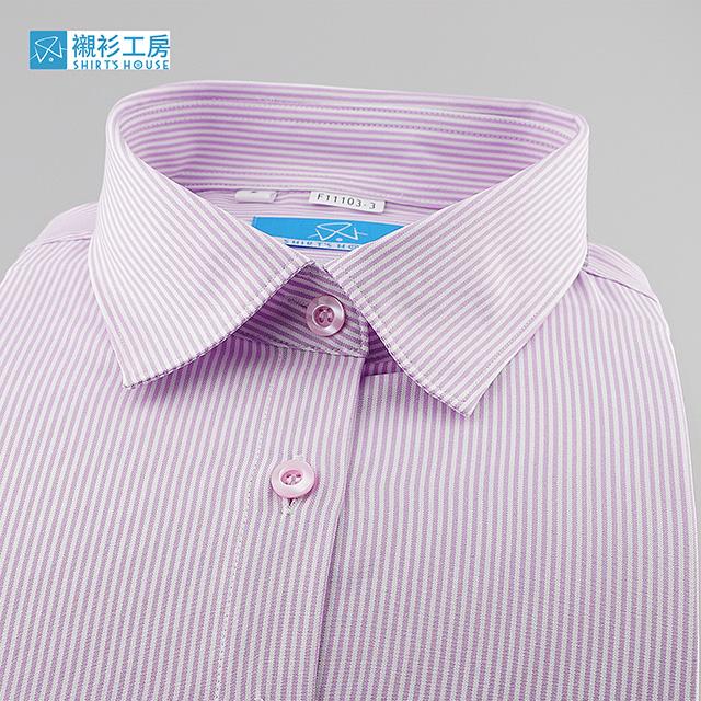 紅白相間細條、軟領軟克夫、鈕釦、釦眼對調不走光、職人親切熱情合身長袖女襯衫11103-03 -襯衫工房