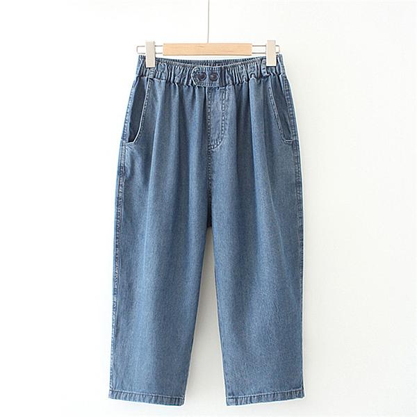 韓版純色彈力做舊鬆緊腰牛仔七分褲(深藍色XL~4XL)*ORead*