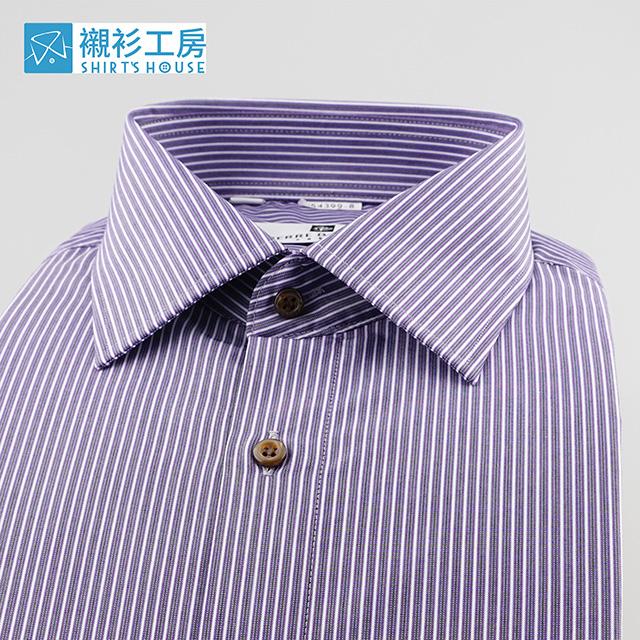 皮爾帕門pb灰紫色細條紋、低調可靠親切穿著合身長袖襯衫54399-08 -襯衫工房