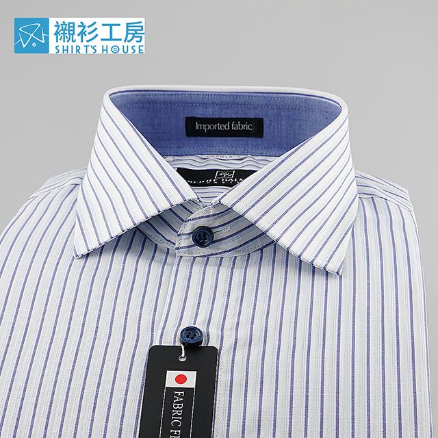 皮爾帕門pb白底藍色線條、棉麻日本進口布料、紳士夏天悠閒氣質穿搭合身短袖襯衫67015-05-襯衫工房