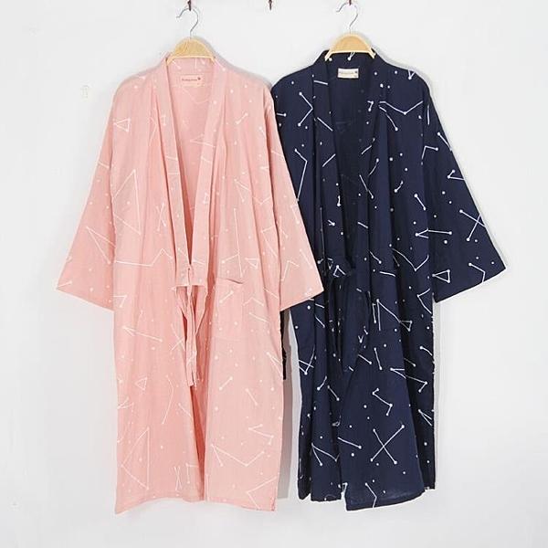 浴袍 春夏薄款日式情侶和服睡袍純棉紗布男士睡衣長款睡裙汗蒸服女 - 風尚3C