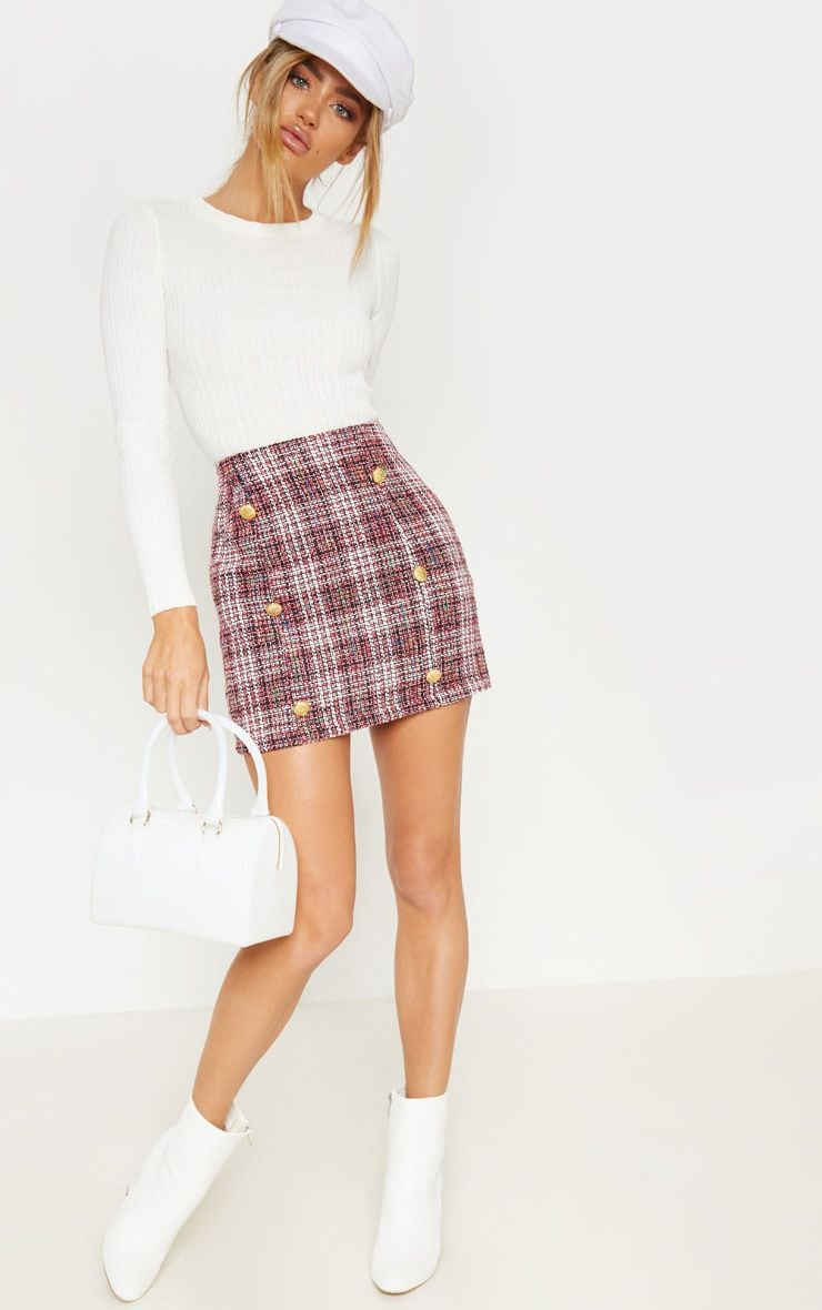 Red Tweed Button Mini Skirt