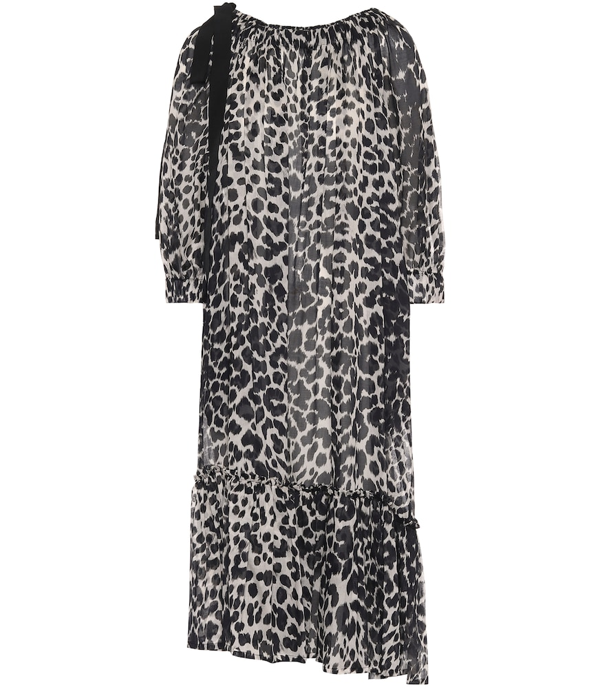 Leopard-print cotton midi dress