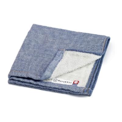 日本愛子 Hartwell 今治素色丹寧風紗布方巾-淺藍