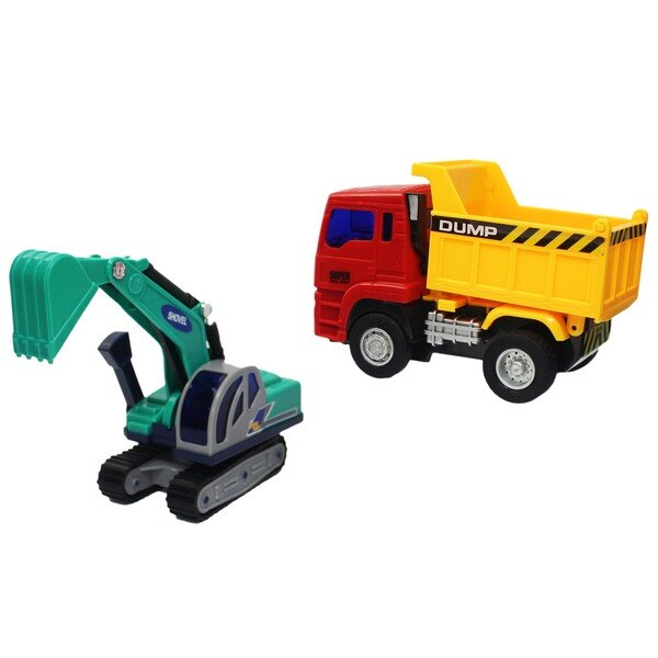 摩輪挖土機 + 砂石車 7811(盒裝)/一盒2台入(促350) 慣性工程車-CF133433