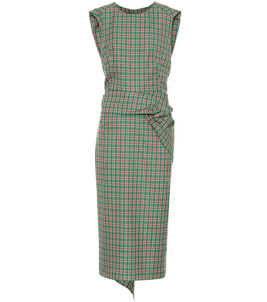 Checked cotton-blend midi dress