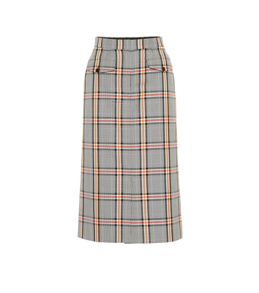 Checked cotton-blend skirt