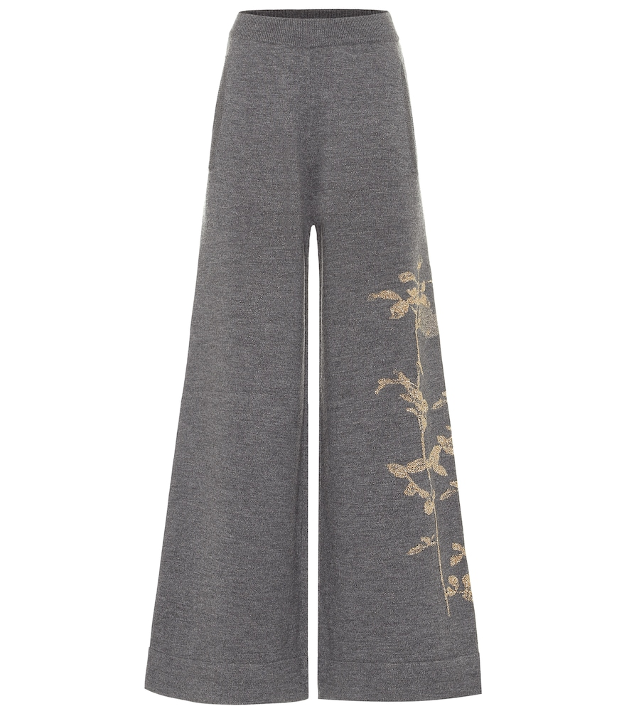 Merino wool-blend wide-leg pants
