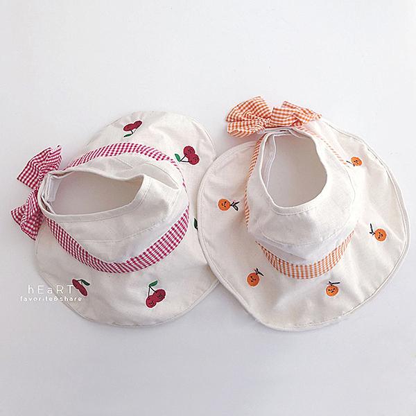 田園風水果刺繡空頂遮陽帽 童帽 防曬