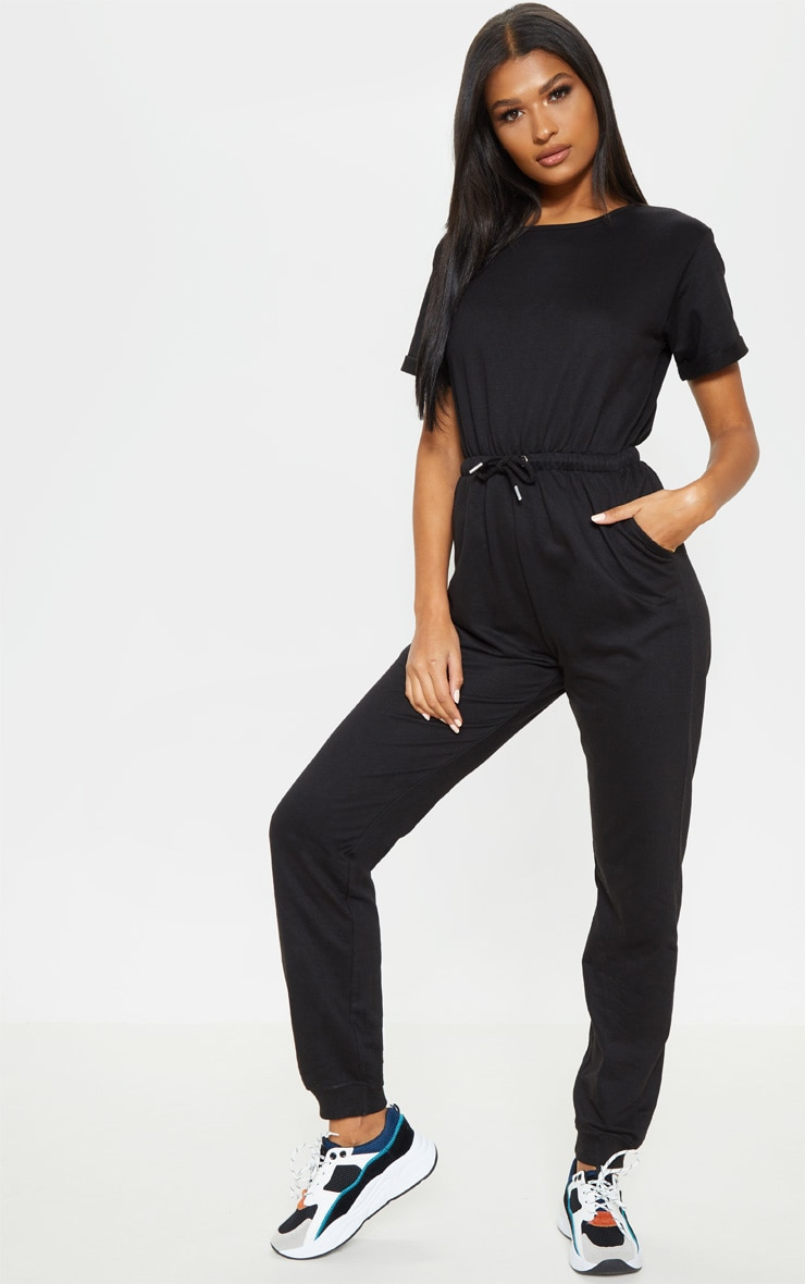 Black Short Sleeve Sweat Jumpsuit