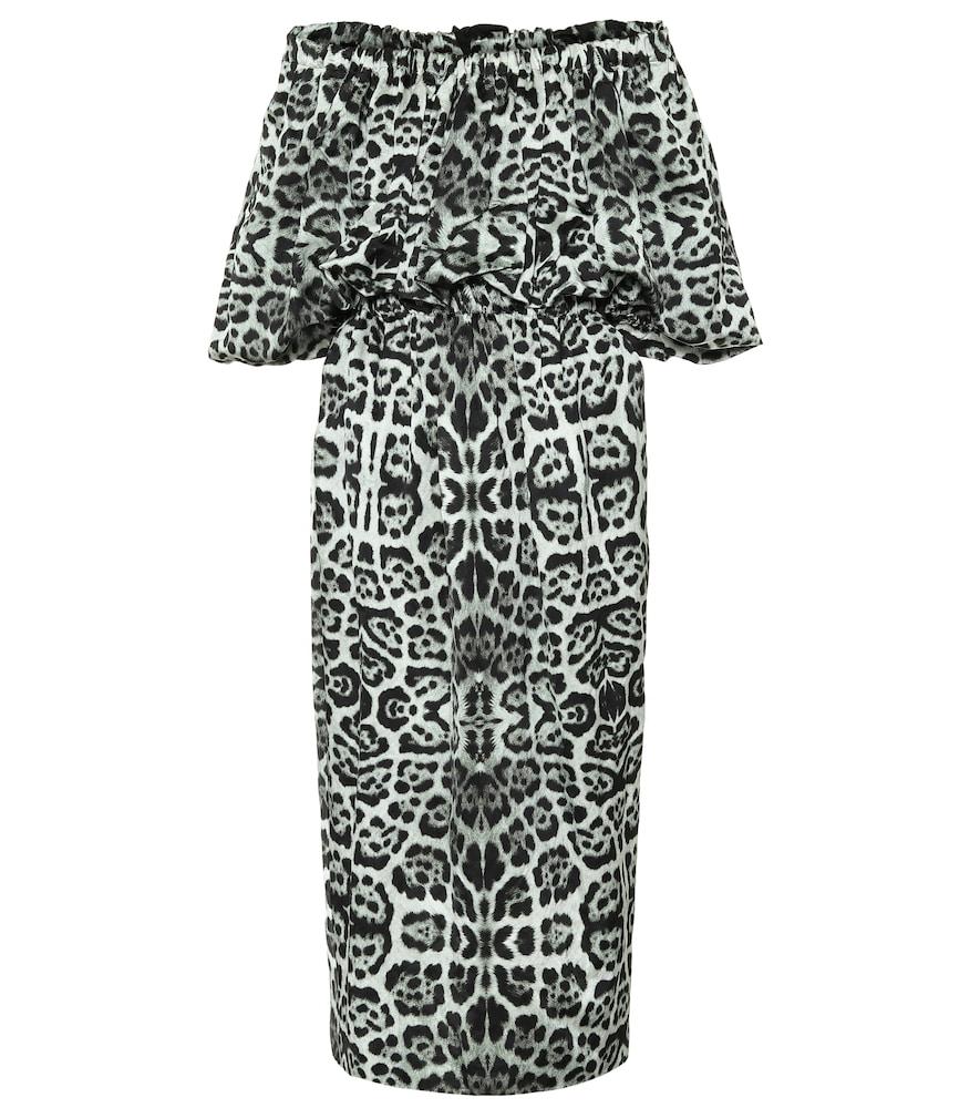 Leopard-print off-shoulder midi dress