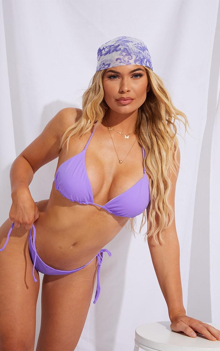 Purple Recycled Fabric Plait Triangle Bikini Top