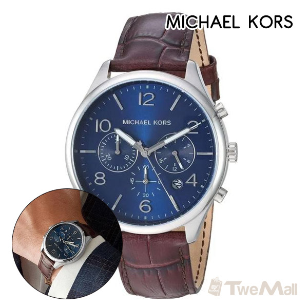 MICHAEL KORS MK 真皮錶帶 三眼 男錶/手錶/腕錶(咖啡)