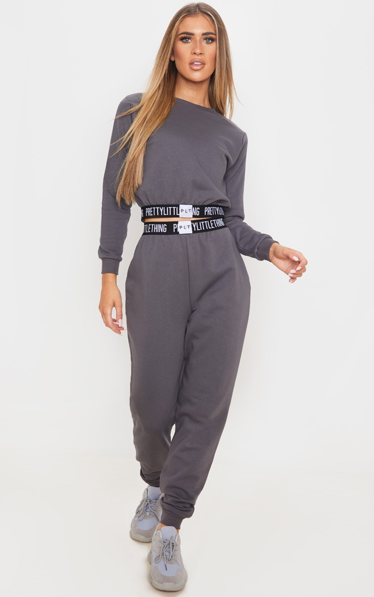 PRETTYLITTLETHING Charcoal Grey Lounge Track Pants