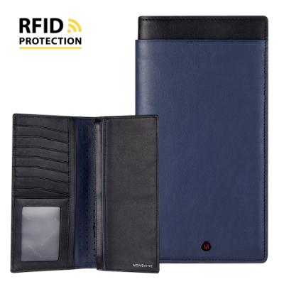 MONDAINE 瑞士國鐵 蘇黎世系列 RFID防盜 8卡雙層零錢長夾 -藍