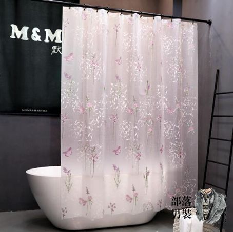 浴簾 防水衛生間浴室簾子防霉掛簾隔斷簾浴簾套裝免打孔蝴蝶花