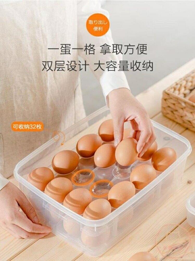 雞蛋盒 家用24/32格雞蛋盒收納儲物盒冰箱保鮮盒廚房蛋架托裝雞蛋【全館82折】