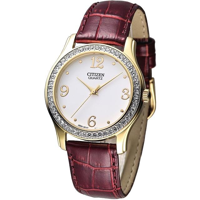 CITIZEN 仕女大錶徑晶鑽腕錶-咖啡紅/皮帶