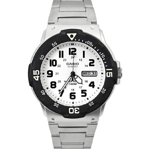 CASIO手錶 黑白軍裝銀帶鋼錶【NECE23】