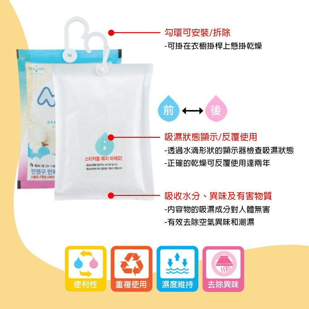 韓國Desizon 水玻璃衣櫥防潮除濕包45g*5包