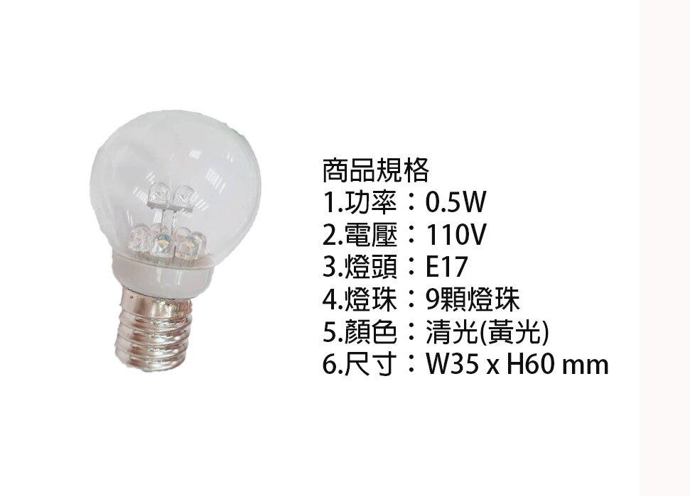 國民燈泡 圓型燈泡 小夜燈 LED 0.5W 9顆燈珠 110V E17 LED燈泡 清光〖永光照明〗2C6-DH-A1001-LED