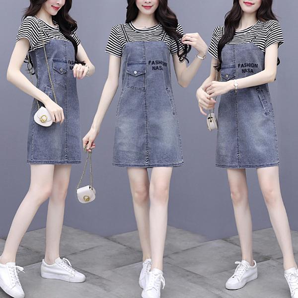 VK旗艦店 韓國風牛仔時尚小背帶裙t恤拼接假兩件短袖洋裝