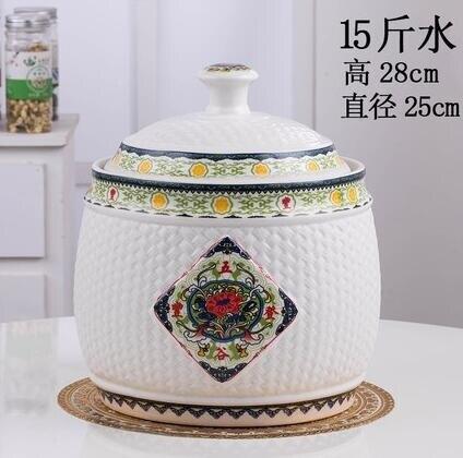 米桶米缸陶瓷帶蓋景德鎮陶瓷 米桶帶蓋儲物罐密封家用防潮儲米罐