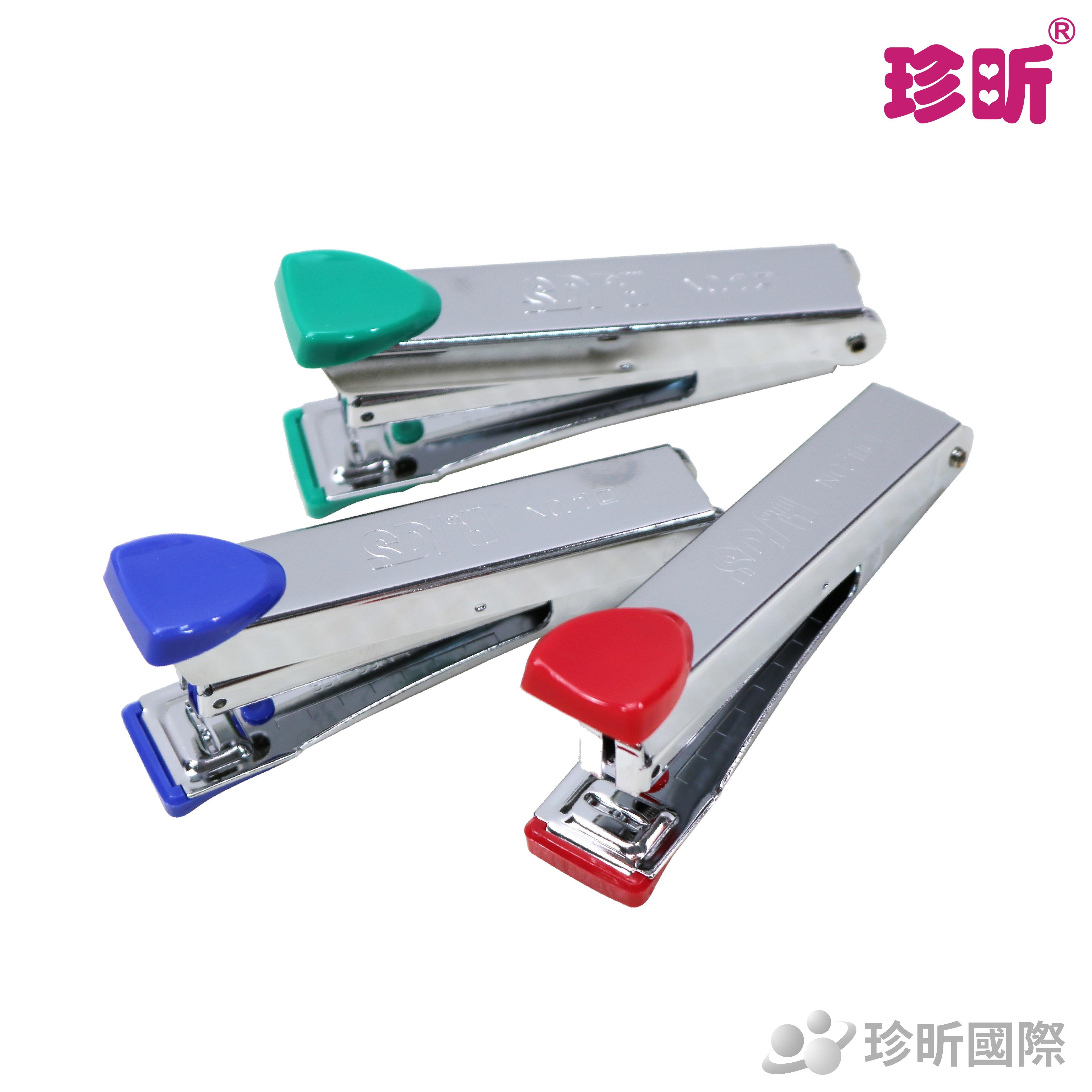 【珍昕】簡約實用型手牌訂書機(附針)~顏色隨機出貨(長約9cm,裝載10號訂書針)/釘書機/文具