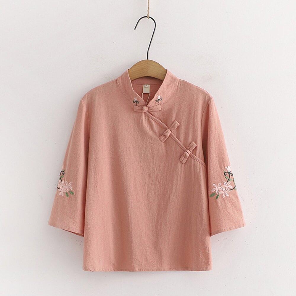 日系森女盤扣立領繡花短版襯衫(粉色M,L)*ORead*