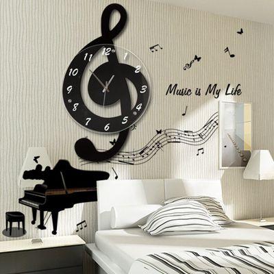 音樂音符北歐客廳家用時尚創意鐘表個性石英裝飾時鐘靜音藝術掛鐘
