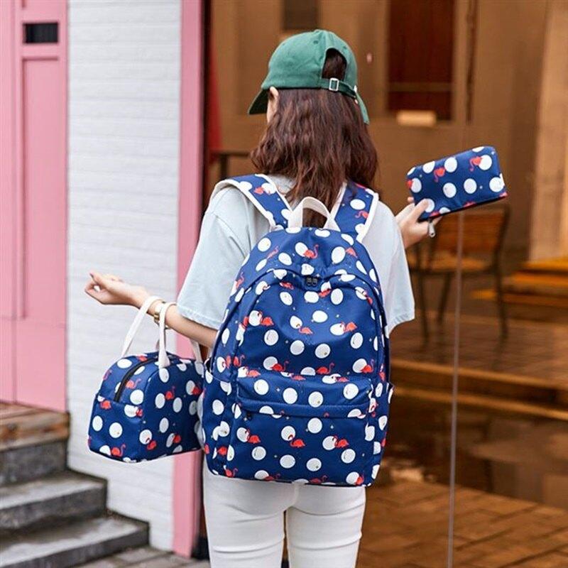 後背包帆布手提包(三件套)-防潑水可愛印花休閒女包包3色73ya2【獨家進口】【米蘭精品】