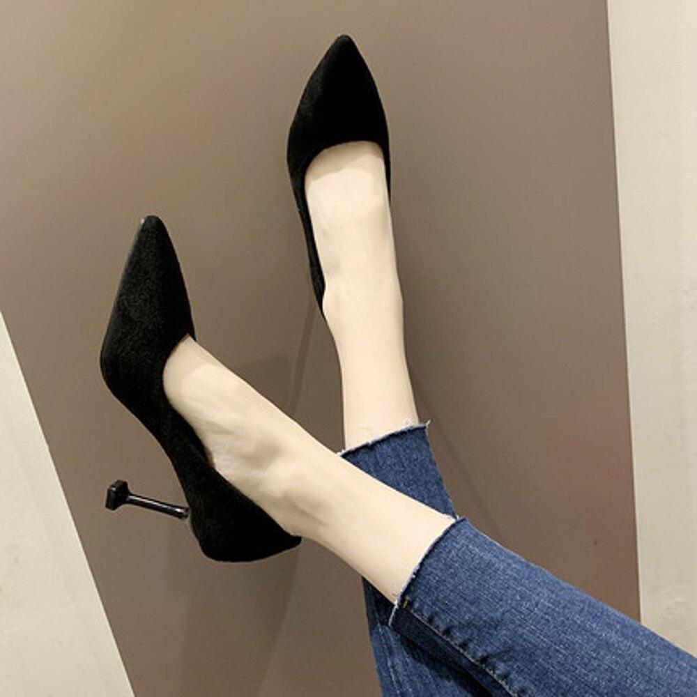 高跟鞋 2019正裝新款十八細跟黑色職業高跟貓跟少女百搭法式學生單鞋【全館82折】