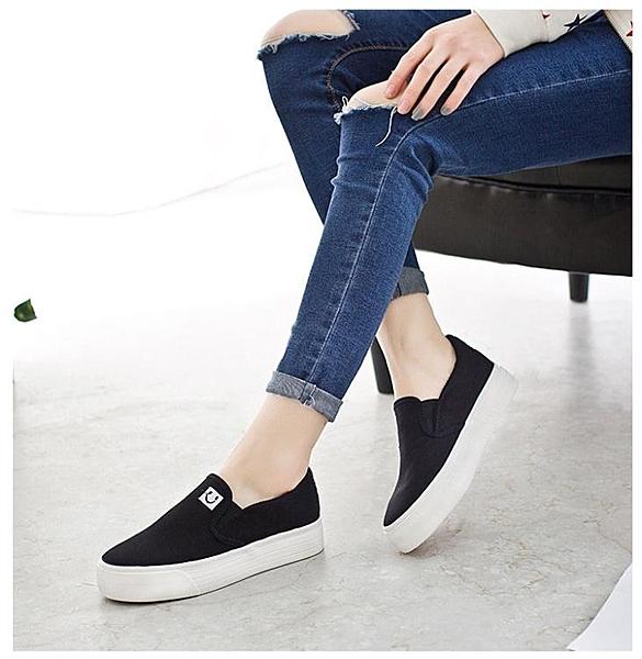 2021秋季帆布鞋女懶人鞋休閒鞋平底布鞋小白鞋女鞋韓版厚底樂福鞋 夏季新品