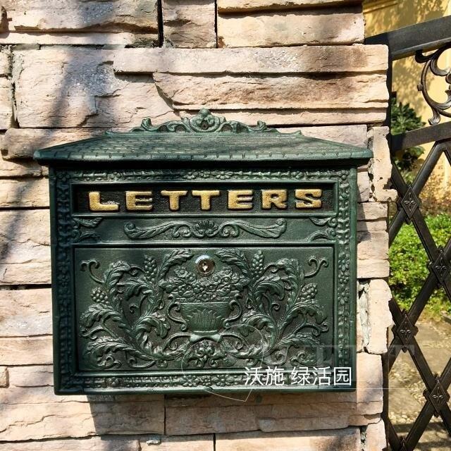 創意別墅信箱歐式鐵藝復古郵箱掛墻鑄鋁帶鎖室外郵筒防水大號 小山好物