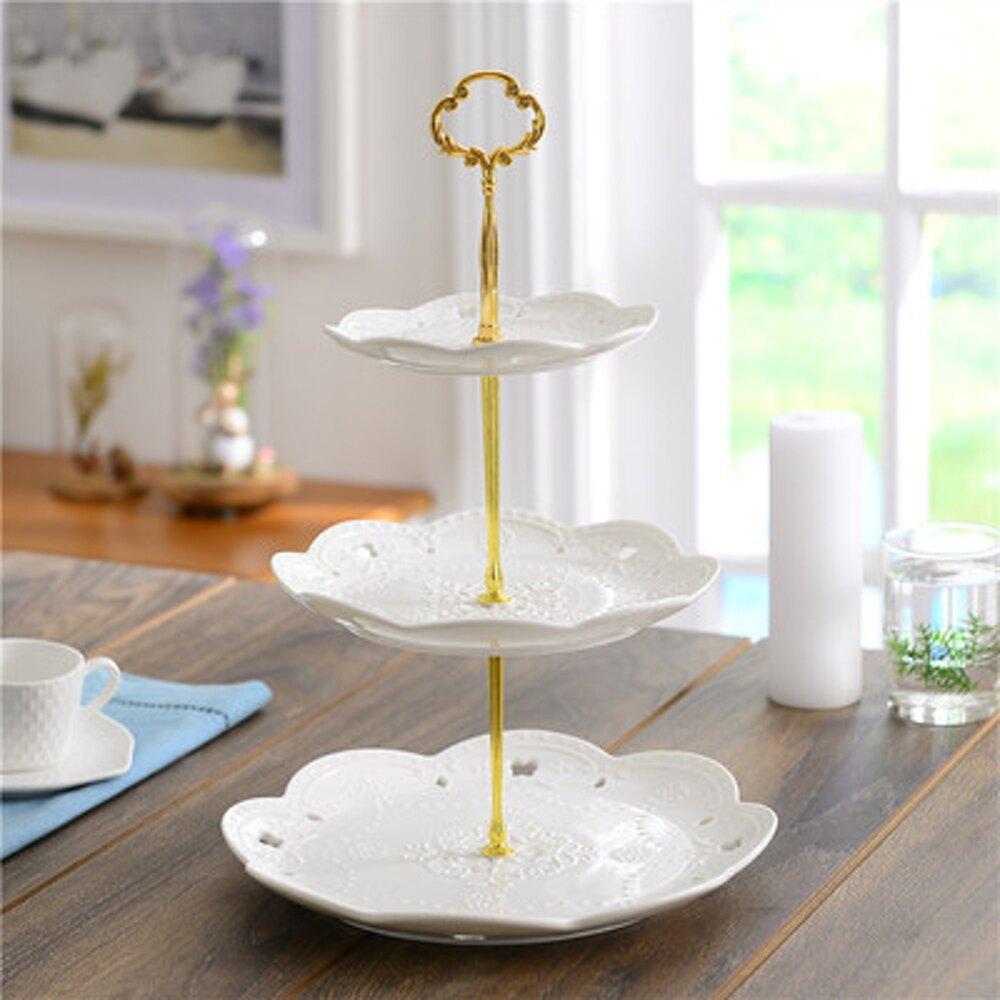 點心盤 陶瓷水果盤歐式三層點心盤蛋糕盤多層糕點盤客廳創意糖果托盤架子【全館82折】