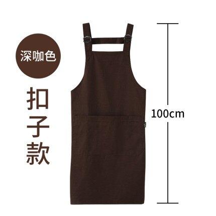 圍裙 圍裙定製logo正韓時尚家用廚房奶茶店美甲防水成人防油工作服定做『LM2731』