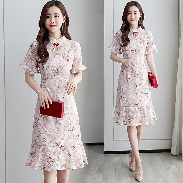 超殺29折 中國風優雅改良旗袍印花復古扣盤氣質短袖洋裝