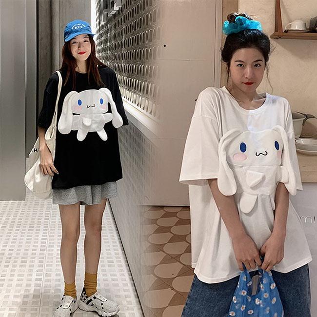 FOFU-短袖T恤可愛卡通寬鬆兔子耳朵短袖T恤【08G-B3012】