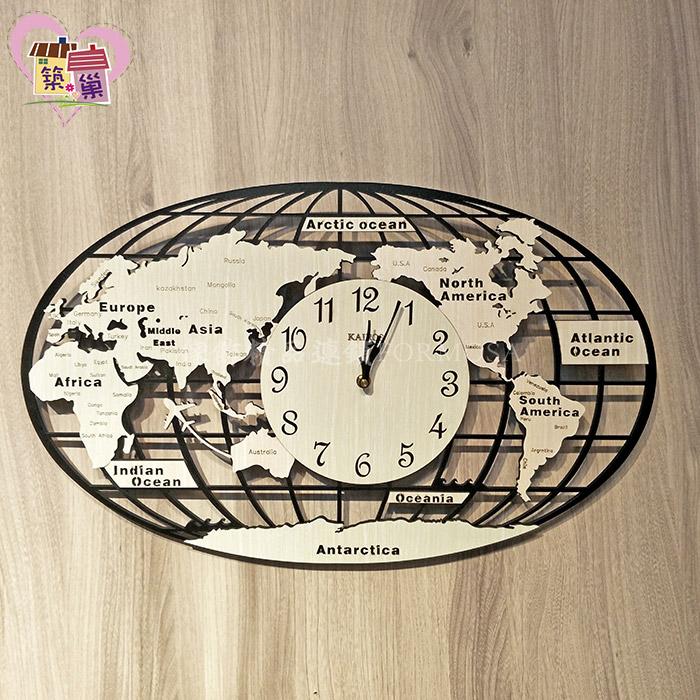 60公分寬簍空環遊世界地圖靜音時鐘【築巢傢飾】