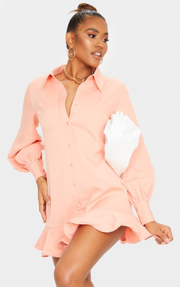 Peach Frill Hem Shirt Dress