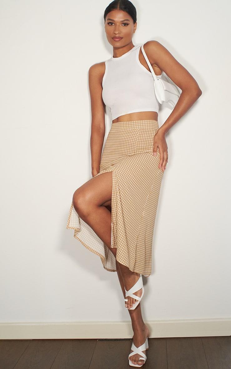 Stone Gingham Floaty Midi Skirt
