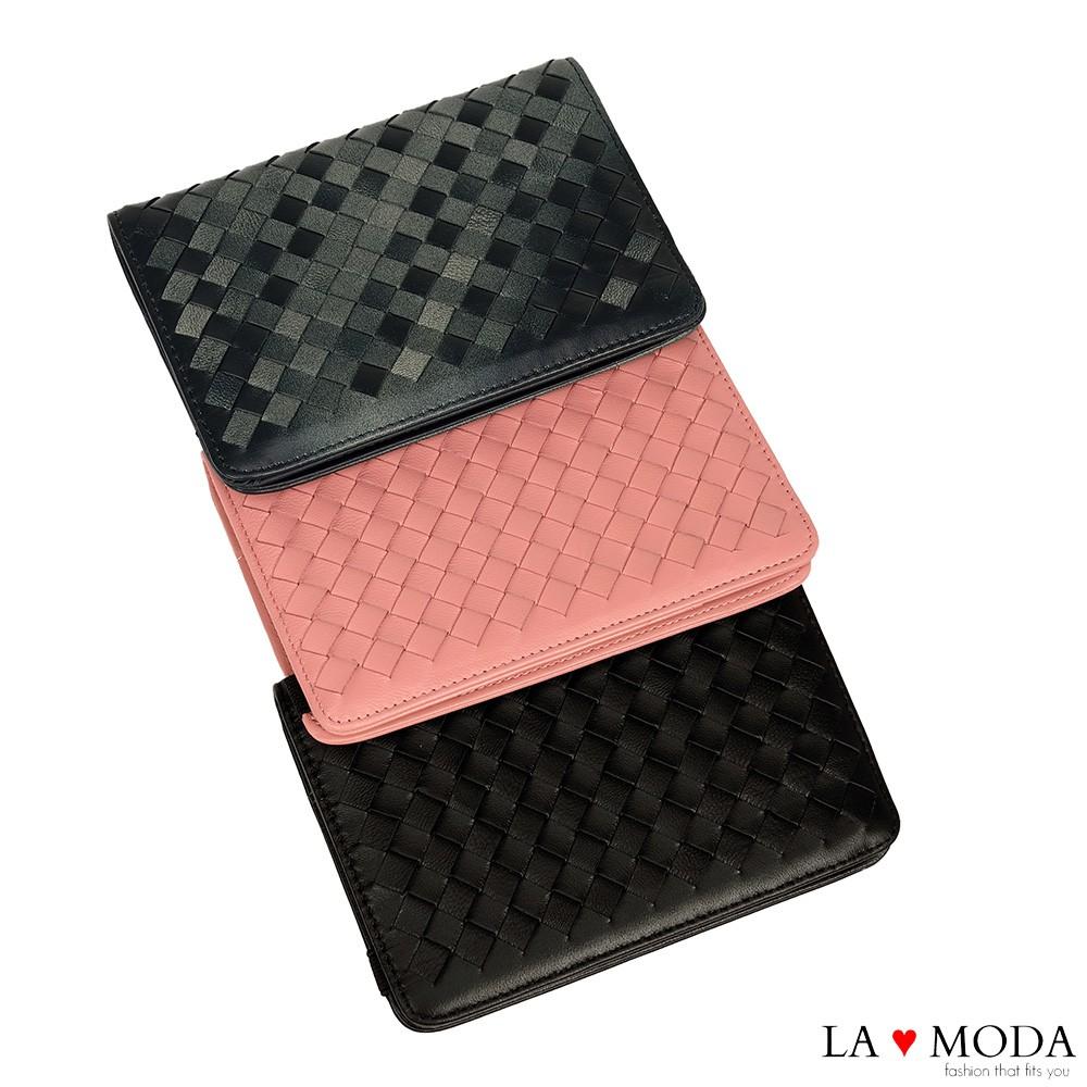 La Moda 實用百分百防盜刷防RFID偵測編織材質多卡位好收納護照夾(共3色)